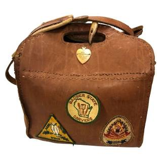 Leather Hand Tooled Work Pouch with Patches