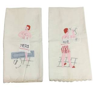 Vintage Madeira Hand Towels HIS and HERS