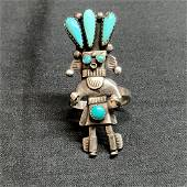 Old Pawn Navajo Silver Turquoise Ring Vintage