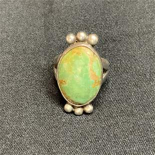 Old pawn Navajo green turquoise and silver oval ring