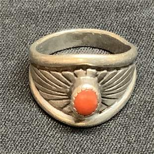 Old pawn ring. Navajo silver with coral stone