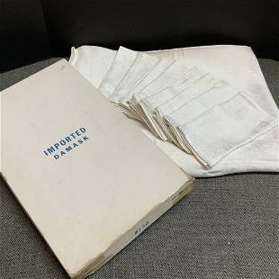 Ivory Damask Table Cloth and Napkins in Original Box