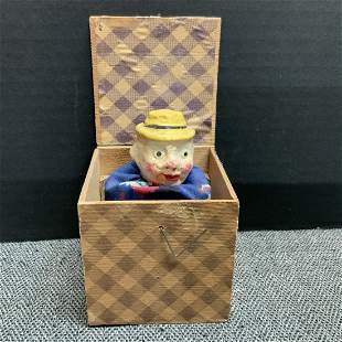 Vintage Man With A Yellow Hat Jack In The Box Toy