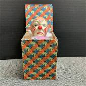Vintage Sad Clown Jack In The Box Toy Made In Japan
