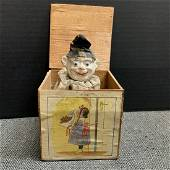 Vintage White Faced Clown Jack In The Box Toy