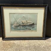 CURRIER & IVES - Loss Of The U.S. M. Steam Ship Arctic.