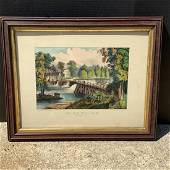 CURRIER & IVES - The Old Mill-Dam