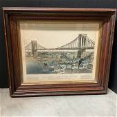 CURRIER & IVES - The Great East River Bridge