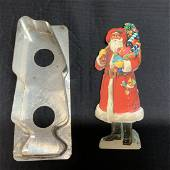 Antique Santa Claus Cookie Cutter With Paper Decals
