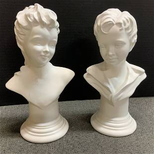 Florence Ceramics Semi Porcelain Boy & Girl Busts