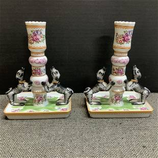 Vintage Mottahedeh Stately Homes Pair Of Candle Sticks