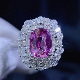 18K White Gold 1.6 CT Sapphire & Diamond Ring