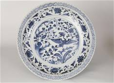 Yuan,Blue and white phoenix plate