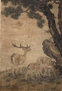 A Chinese Scroll Painting of Animals