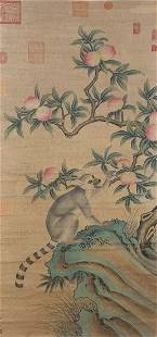 A Chinese Scroll Painting of Animal and Flower