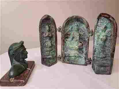 Signed native American piece chinese rare bronze tomb