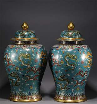 In the Qing Dynasty, a pair of bronze Cloisonne general