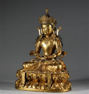 In the Ming Dynasty, the bronze and gold-plated statues