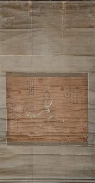 Wu Daozi, ink painting, silk vertical scroll