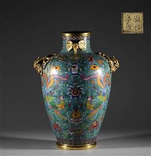 In the Qing Dynasty, the bronze Cloisonne dragon and