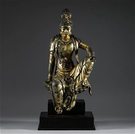 Tang Dynasty, bronze gilded Guanyin statue