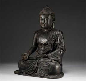 In the Ming Dynasty, a bronze statue of Sakyamuni
