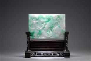 Jadeite Rockery Table Screen.QING PERIOD