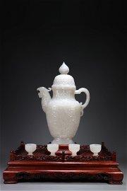 A Set of Hetian Jade Wine Pots.QING PERIOD