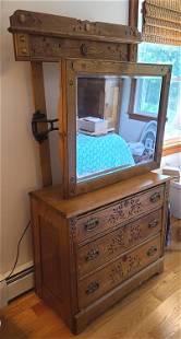 19C. Oak Peerless Adjustable Mirror - 3 Drawer Dresser