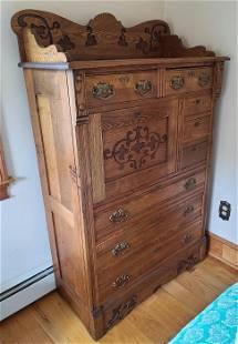 Antique Oak 8 Drawer Secretary Dresser