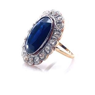 Sapphire, Diamonds & 18k Gold Rosetta Ring