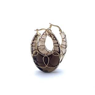 MILOR Smoky Quartz 14k Gold Earrings