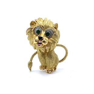 French 18k Gold Enamel Lion Brooch
