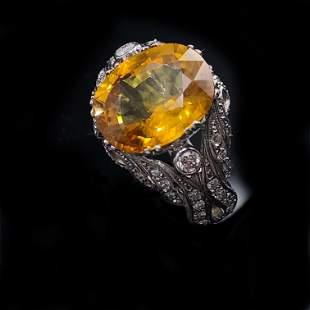 Retro Platinum Diamond & Yellow Sapphire Diamond Ring