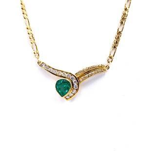 Italy Modern Diamonds, Emeralds & 18k Gold Necklace