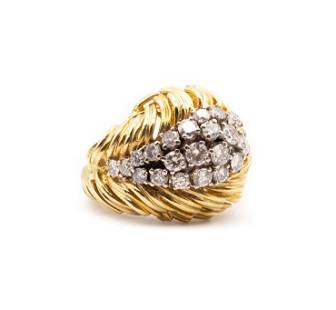 Mid-century Diamonds, 18k Gold & Platinum Ring
