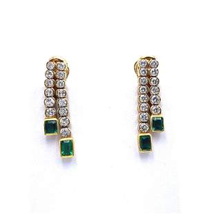 Retro Emeralds, Diamonds & 18k Gold Earrings