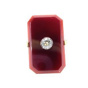 Art Deco Carnelian & Diamonds 18k Gold Ring