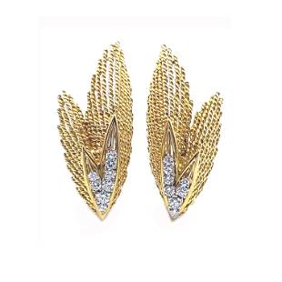 Textured French Diamonds & 18k Gold Earrings