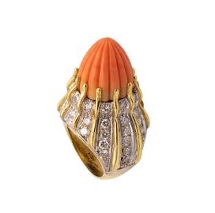 Retro 1960 Italy 18k, Diamonds & Coral Cocktail Ring