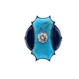 Art Deco Inspired Turoquise, Onyx & Diamonds Platinum