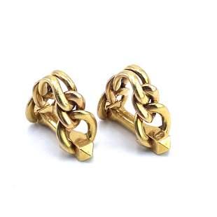 French Rope 18k Gold stirrup Cufflinks