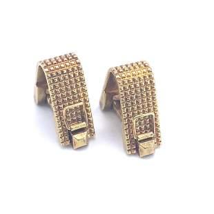 GUBELIN ZURICH Textured 18k Gold stirrup Cufflinks