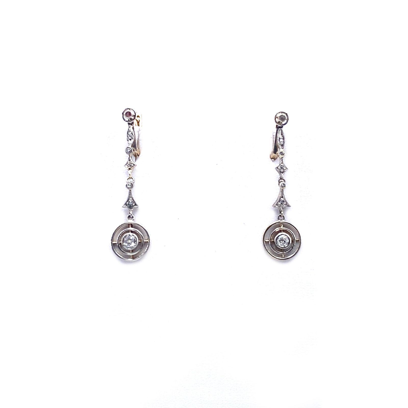 Art Deco Diamonds, 18k Gold & Platinum Drop Earrings