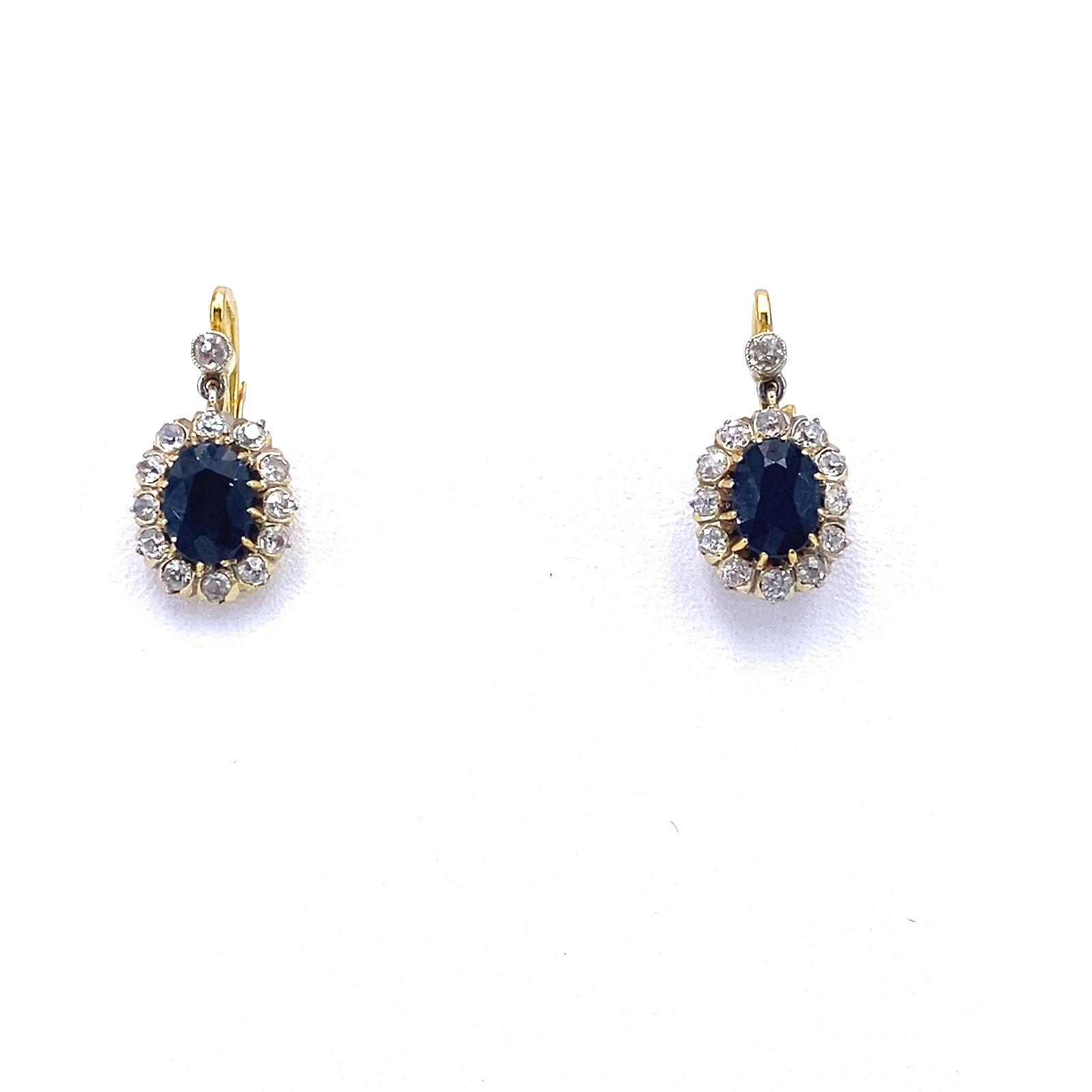 Antique Sapphires, Diamonds & 18k Gold Rosetta Earrings
