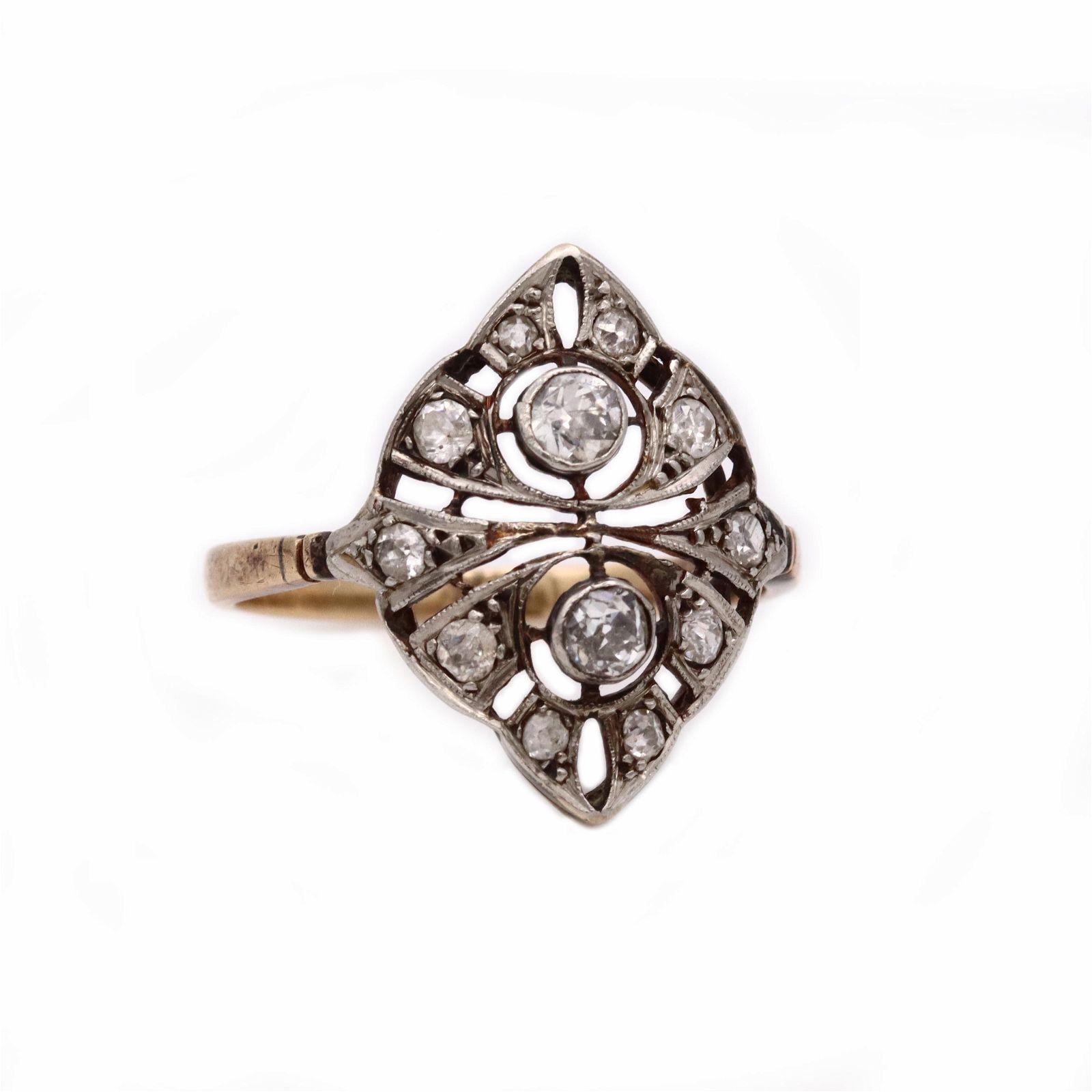 Edwardian Diamonds Platinum & 18k Gold Ring