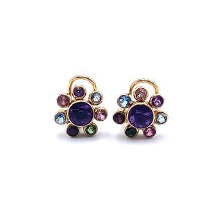 18k Gold Multicolor Gemstones Clip Earrings
