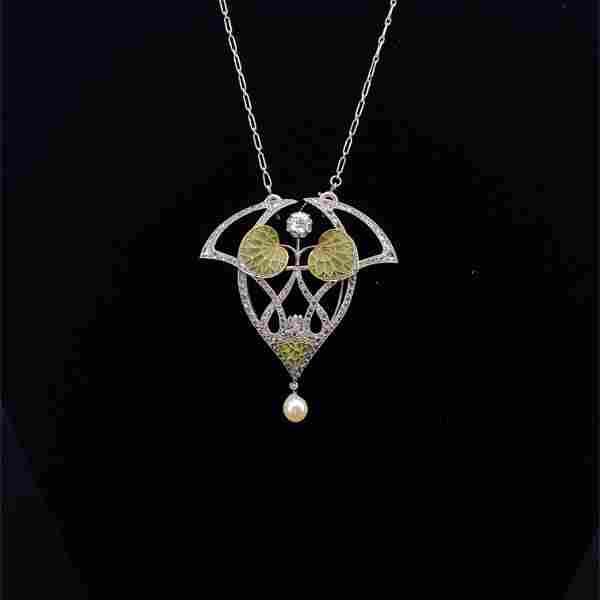 Platinum & Diamond Plique a Jour Pearl Pendant / Brooch