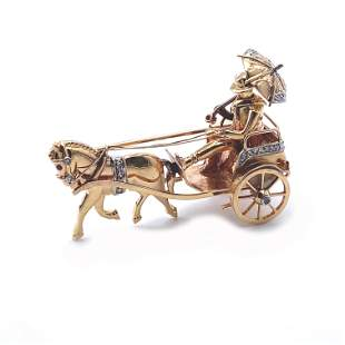 Antique Carriage Diamonds & 18k Gold Brooch