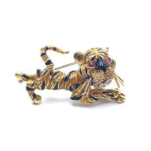 Rubies & Diamonds Enamel Tiger Brooch 18k Gold